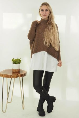 The Cable Turtle Neck Shirtie Dark Tan