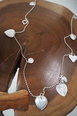 The Casanova Hearts Long Necklace Silver