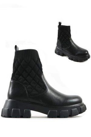 The Coco Sock Tread Ankle Boot Black