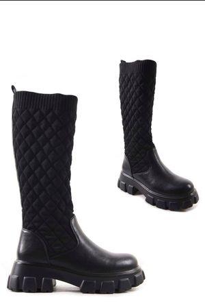 The Coco Sock Tread Tall Boot Black