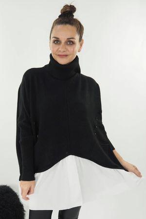 The Cowl Button Shirtie Black