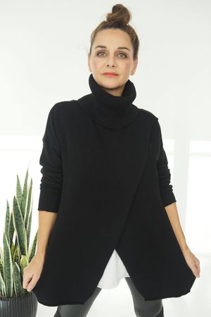 The Crossed Lines Polo Knit Black