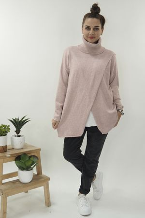 The Crossed Lines Polo Knit Blush