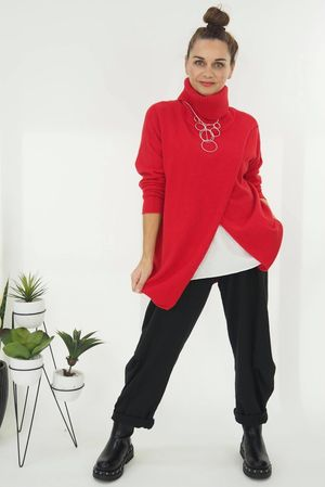 The Crossed Lines Polo Knit Cherry Red