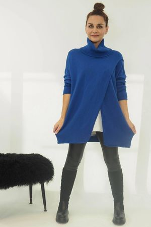 The Crossed Lines Polo Knit Cobalt