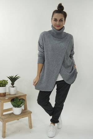 The Crossed Lines Polo Knit Grey Marl