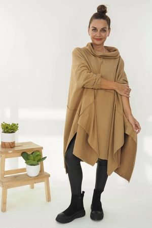 The Cubist Cowl Top Soft Tan