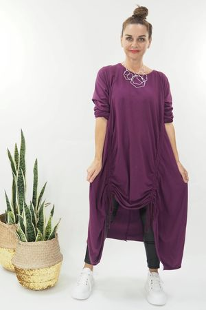 The Double Hitch Long Sleeve Dress Magenta