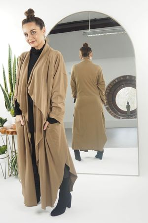 The Full Length Split Side Duster Coat Tan