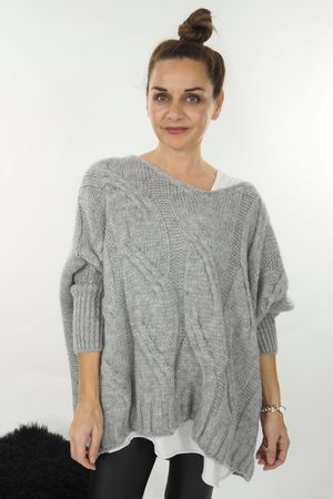 The Grunge Cable Knit Grey Marl
