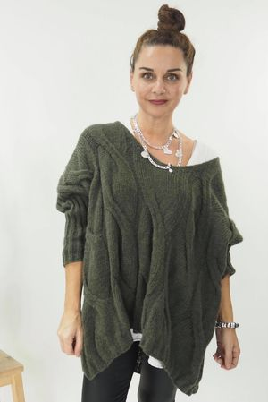 The Grunge Cable Knit Khaki