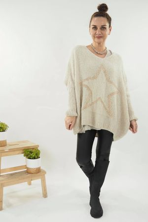 The Grunge Gold Star Knit Oatmeal