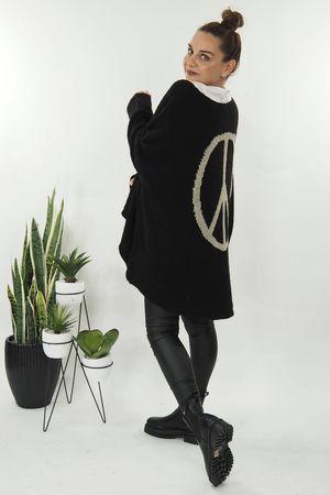 The Grunge Peace Back Knit Black