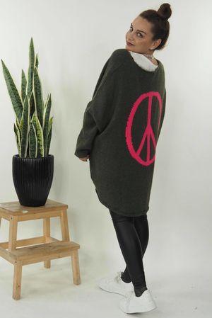 The Grunge Peace Back Knit Khaki