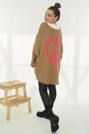 The Grunge Peace Back Knit Soft Tan