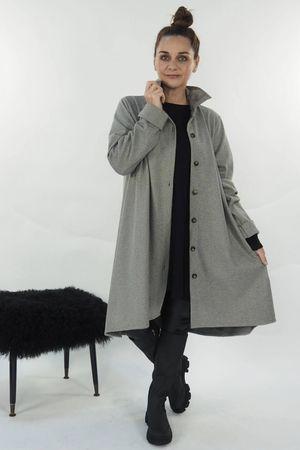 The Herringbone High Low Jacket Khaki