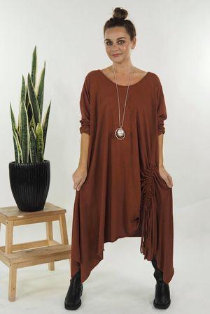 The Hitchcock Long Sleeve Dress Terracotta