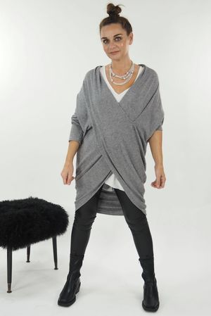 The Huggy Wrap Knit Grey Marl