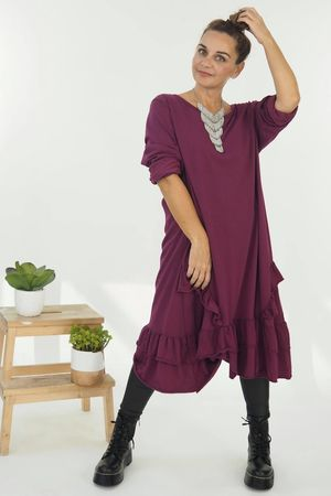 The Immy Ruffle Dress Aubergine