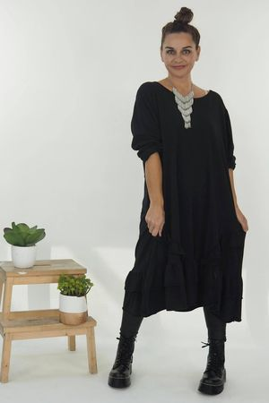 The Immy Ruffle Dress Black