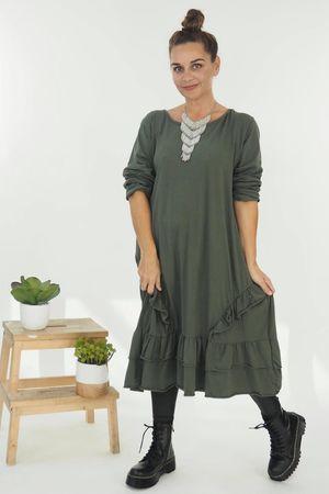 The Immy Ruffle Dress Khaki