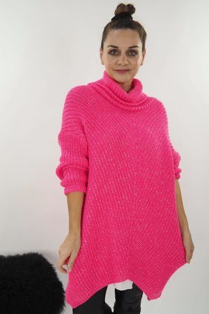 The Lurex Cowl Knit Hot Pink