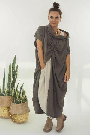 The Mercer Butterfly Cowl Tunic Earth