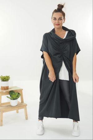 The Mercer Butterfly Cowl Tunic Graphite