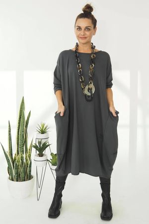 The Mercer Polly Cocoon Dress Graphite