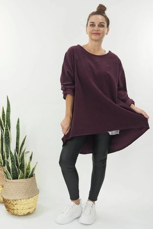 The Needle Cord Button Back Top Mulberry