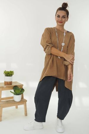 The Needle Cord Button Back Top Soft Tan