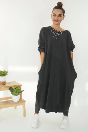 The Needle Cord Cocoon Dress Graphite