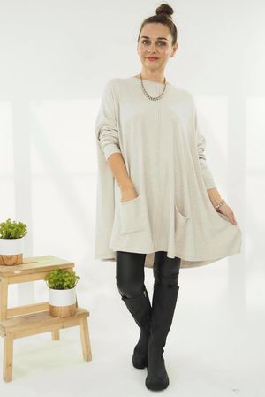 The Oversized Pocketed Swing Knit Ecru