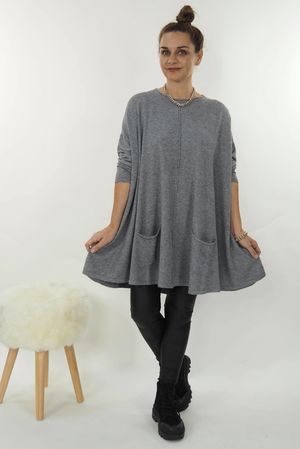 The Oversized Pocketed Swing Knit Grey
