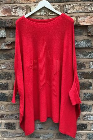 The Oversized Star Blanket Knit Cherry Red