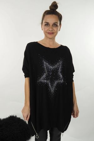 The Oversized Zippi Starburst Knit Black