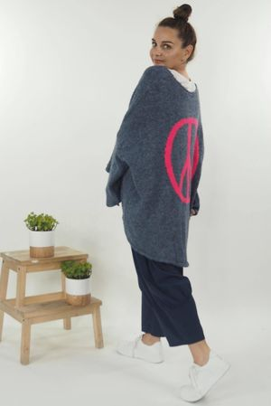 The Peace Back Grunge Knit Denim