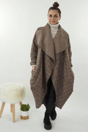 The Prince Of Wales Cocoon Coat Espresso