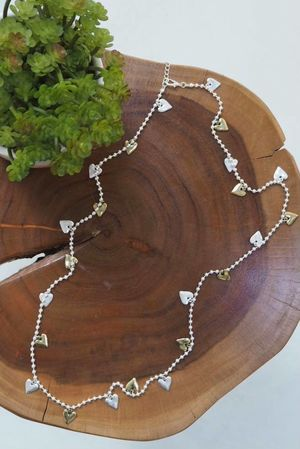 The Scattered Hearts Necklace Silver