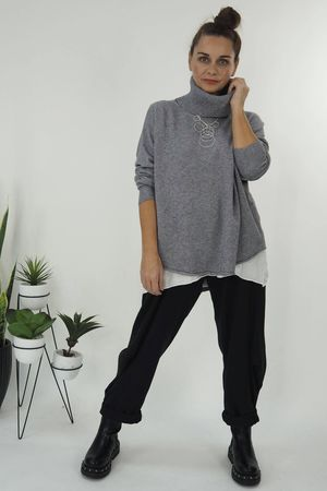 The Scoopy Cowl Knit Grey Marl