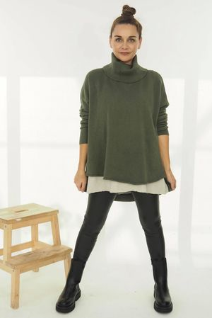 The Scoopy Cowl Knit Khaki
