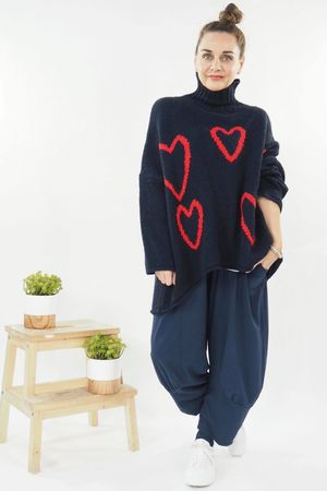 The Turtle Neck Empty Hearts Knit Navy