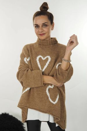 The Turtle Neck Empty Hearts Knit Soft Tan