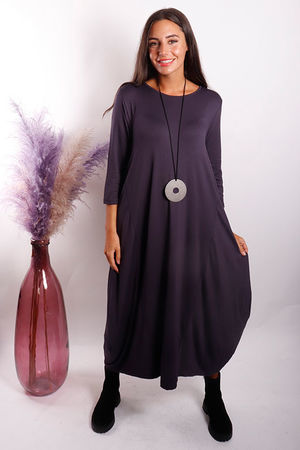The 3/4 Sleeve Parachute Dress Aubergine