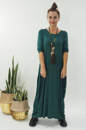 The 3/4 Sleeve Parachute Dress Forest