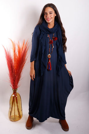 The 3/4 Sleeve Parachute Dress Navy