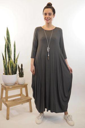 The 3/4 Sleeve Parachute Dress Slate