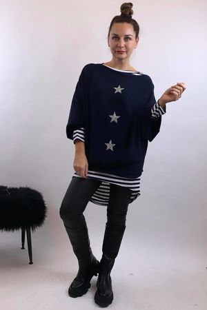 The 3 Star Batwing Knit Navy