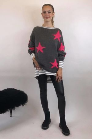 The All Star Box Knit Grey & Pink