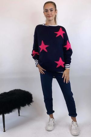 The All Star Box Knit Navy & Pink